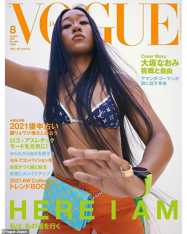 Osaka appears on the cover of the August edition of Japanese Vogue, which was also likely shot months ago