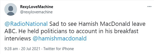 Fans: Not all social media users were happy with Macdonald's fall, as shown here