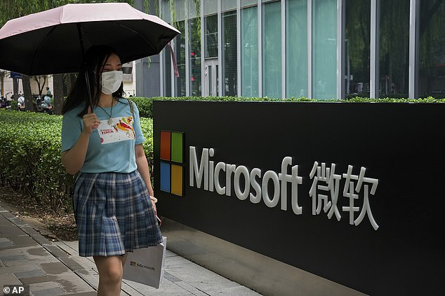 China has denied being responsible for a massive hack of Microsoft servers earlier this year that affected at least 30,000 organisations worldwide (file image)