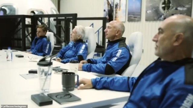 Bezos is seen listening to the briefing, seated next to Funk and his brother Mark. To Funk's right is 18-year-old Dutch physics student Daemen, whose father paid for the trip. The amount was undisclosed, but the person who bid $28 million at auction dropped out, allowing Daemen to take his place