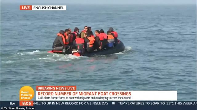 Ms Tomson said GMB alerted Border Force to the small boat, but agreed to 'observe' the migrants because UK officials were so busy handling other crossings this morning. Around 20 minutes later, a Border Force jet-ski was filmed escorting the dinghy to the English coastline