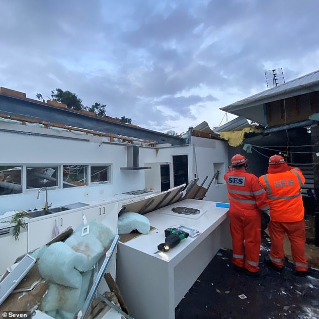Pictured is a home in Eagle Bay, WA that lost its roof during torrential rain in July