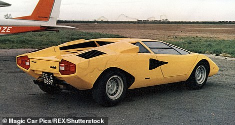 Blast from the past: Theyacht's exterior is inspired by the Lamborghini Miura and Countach (pictured is the1974 Lamborghini Countach)
