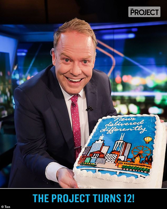 Birthday!The official account also celebrated the anniversary, sharing an image of host Peter Helliar (pictured) with a cake for the occasion