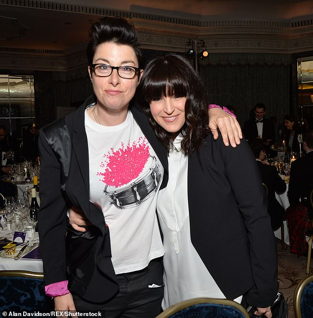 Amicable: Sue recently split from her long-term girlfriend Anna Robinson, withMailOnline revealed that nobody else is involved in the decision (pictured in 2014)