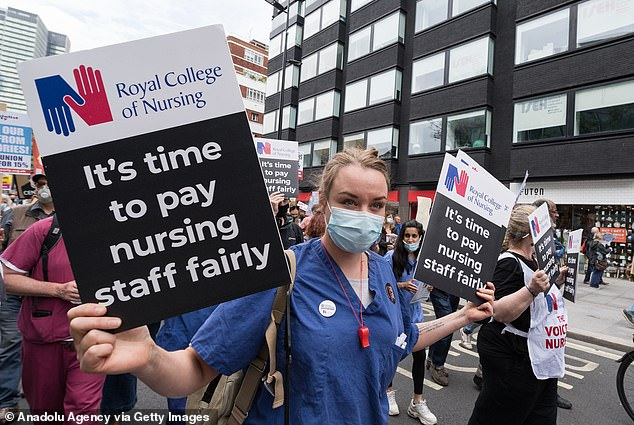 Unions have warned that an expected 3 per cent pay rise for NHS staff is not enough. PIctured, protests in London earlier this month