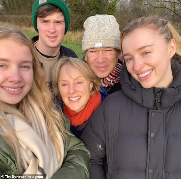 The whole gang:Actor and screenwriter Tim shares Phoebe as well as daughter Harriet and son Samuel, 24, with his Coronation Street star wife Sally, who he married in 1995
