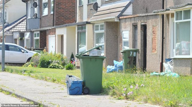 Rubbish piling up today in Stockton-on-Tees, where regular bins will only be collected fortnightly and garden waste pick-ups have been suspended