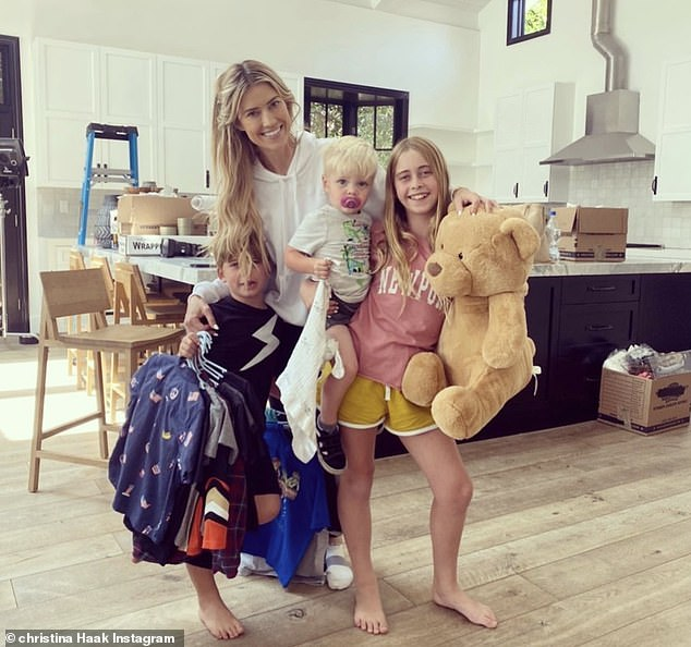 Transitions: Christina shared a photo of herself with her three kids over the weekend as she was in the middle of moving out of her Newport Beach home after breaking up with Ant