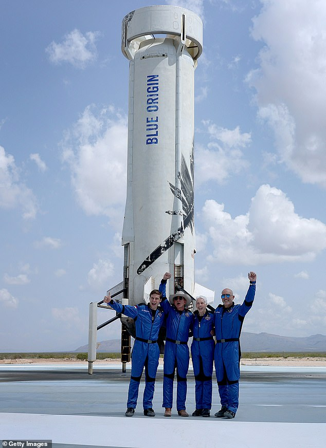 FunkAfter returning from the 10-minute tour into space with his brother, Mark Bezos (far right), Oliver Daemen, and 82-year-old aviation pioneer, Wally Funk - Bezos exclaimed that it was the 'best day ever!'