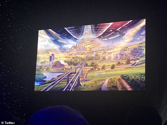 Bezos presents an artist rendering of what space colonies can look like. Inspired by a book called The High Frontier he imagines 'mile long cyndrical tubes' that would sustain an entire biosphere. The Atlantic said, Bezos sounds 'rapturous' when he describes these colonies. 'This is Maui on its best day, all year long. No rain, no storms, no earthquakes'