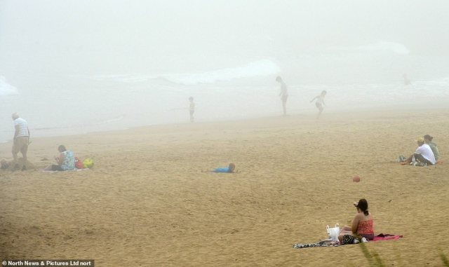The extreme hot temperatures in the North East are causing sea fret to form on South Shields beach in South Tyneside today