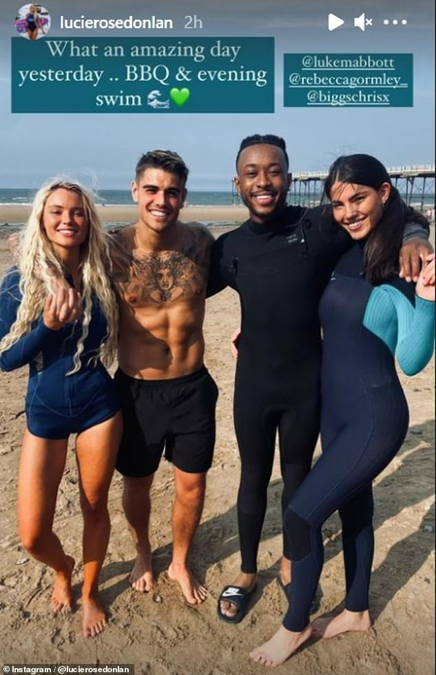Warm weather:Love Island's Lucie Donlan enjoyed an idyllic day at Yorkshire's Saltburn beach with beau Luke Mabbott and friends Biggs Chris and Rebecca Gormley on Monday