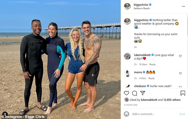 Squad trip:Biggs also shared a photo onto Instagram of the squad at the picturesque location, captioning his joyful image: ' Nothing better than good weather & good company... thanks for borrowing us your swim suits'