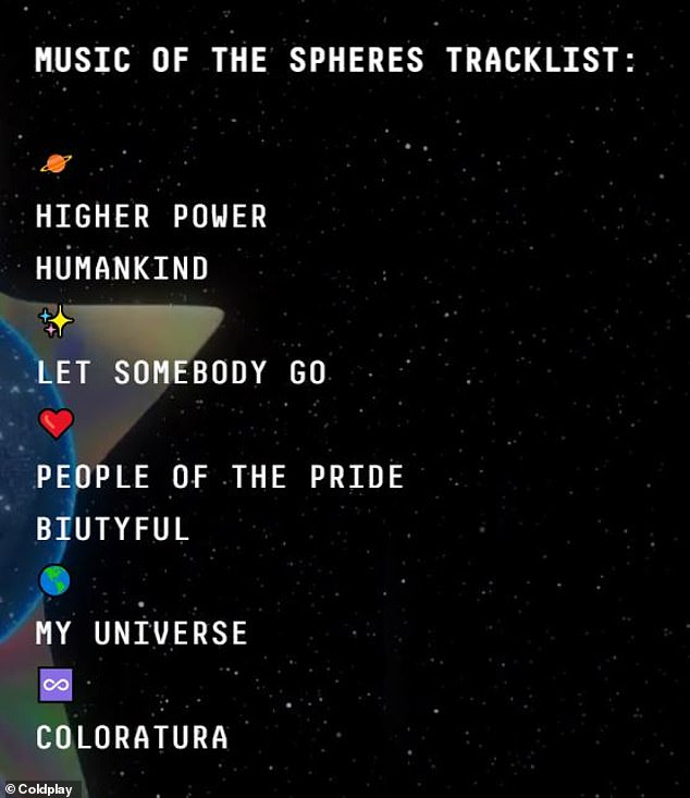 New release: The band released song titles from their album Music of the Spheres which will be released on October 15th