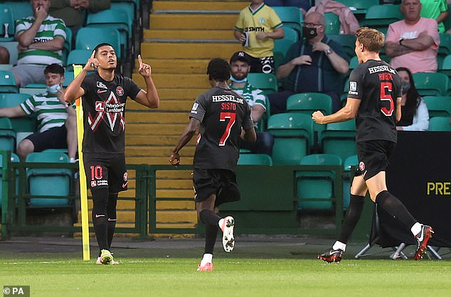Evander celebrates after levelling the scoring for FC Midtjylland at Parkhead on Tuesday