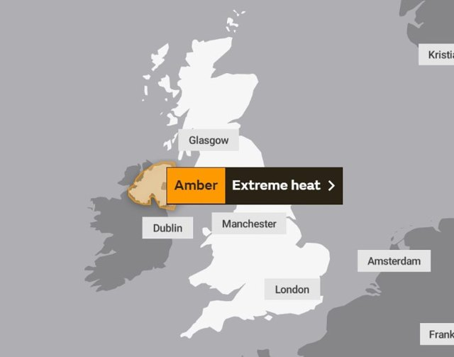 An amber 'extreme heat' warning from the Met Office in place for some of Northern Ireland on Friday
