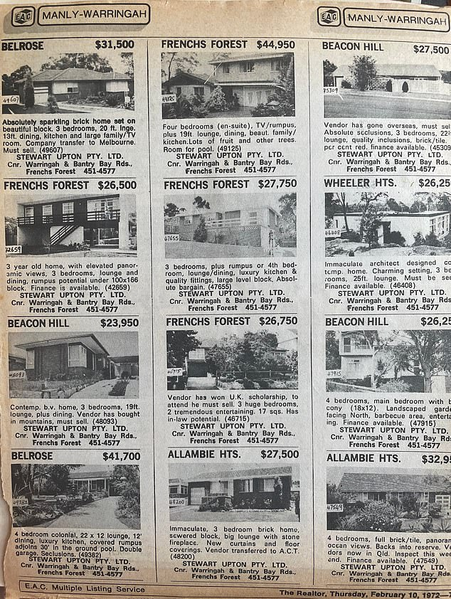 The 1972 realtor also listed some astoundingly low prices for homes in French's Forest, Beacon Hill, Allambie Heights, Belrose, and Wheeler Heights