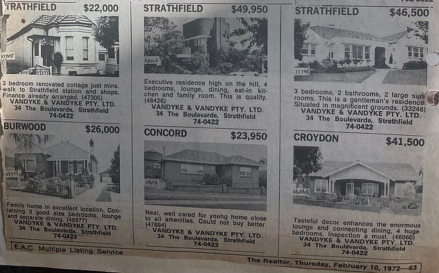 You could score a 'magnificent gentleman's residence' at Strathfield for just $46,500 in 1972
