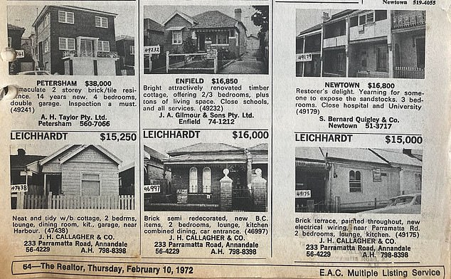 Inner West suburbs close to the city like Leichhardt and Newtown had smaller workers' cottages in 1972, while prices rose the further west you went