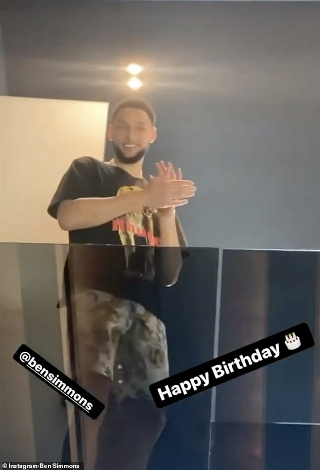 Celebration: NBA star Ben Simmons celebrated his 25th birthday in style on Tuesday as he enjoyed a private performance by a Mariachi band at his home in Los Angeles