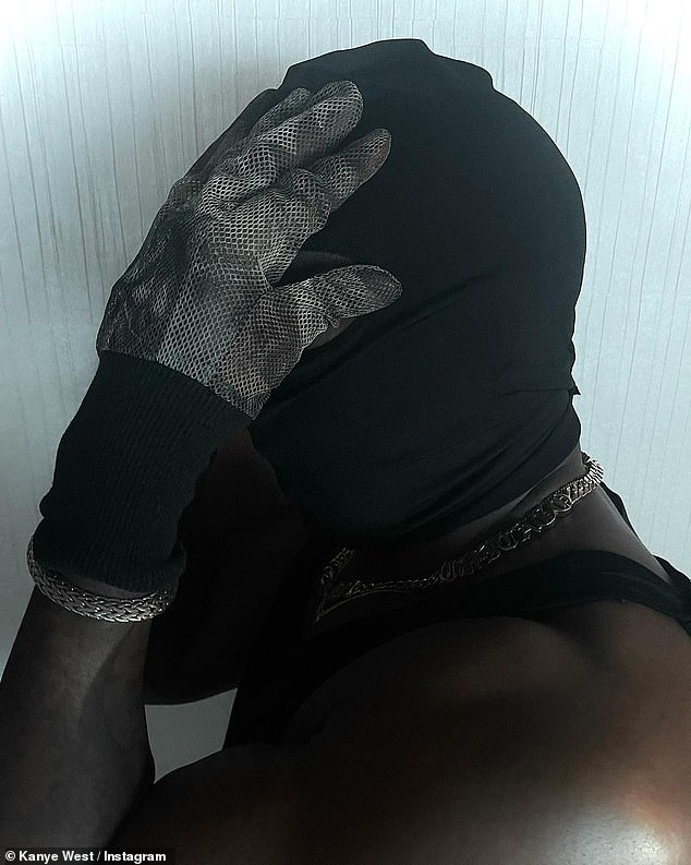 Odd:He kept the disconcerting black mask on in all of the photos and even gave a closeup of it in another photo done in profile