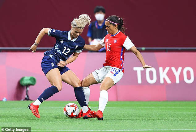 Team GB's Rachel Daly (left) is challenged by Chile's Daniela Zamora (right) in opening period