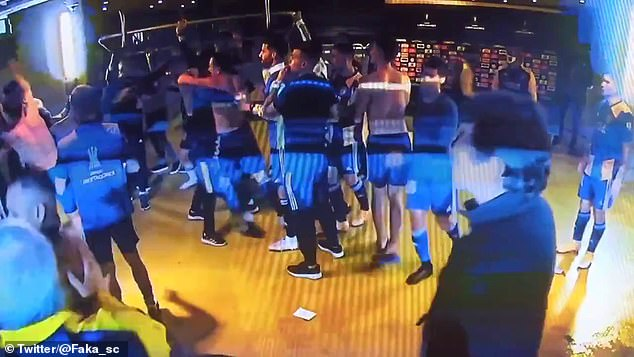 Police reportedly used tear gas canisters on the players to diffuse the violence escalating
