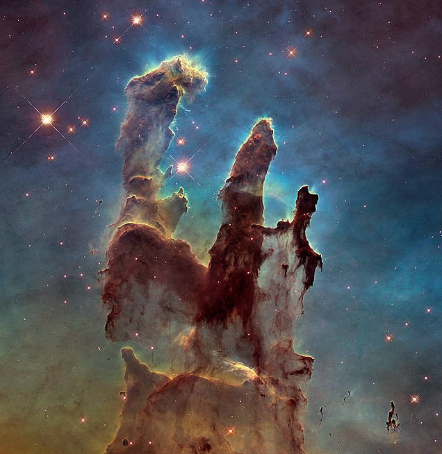 This Hubble image of the Pillars of Creation is made of a composite of visible light observations