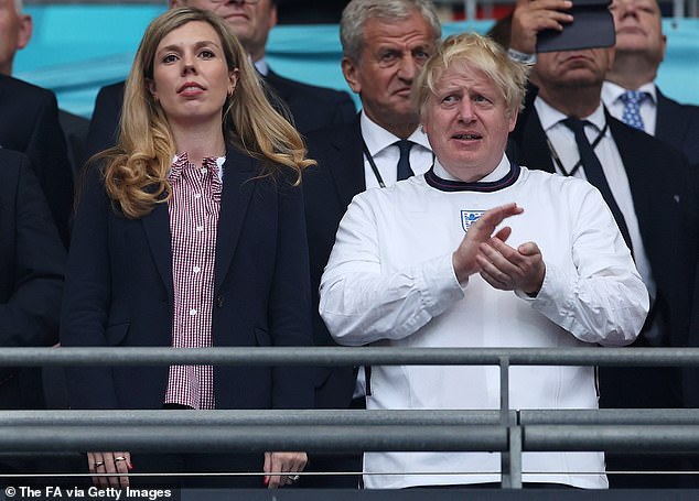 The Oxford-educated former aide claimed Mr Johnson (pictured with Carrie at Embley this month) allows Carrie to appoint his aides