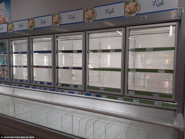 The frozen fish section at a Morrisons in Manchester today as supermarket shoppers complained of shortages of some products