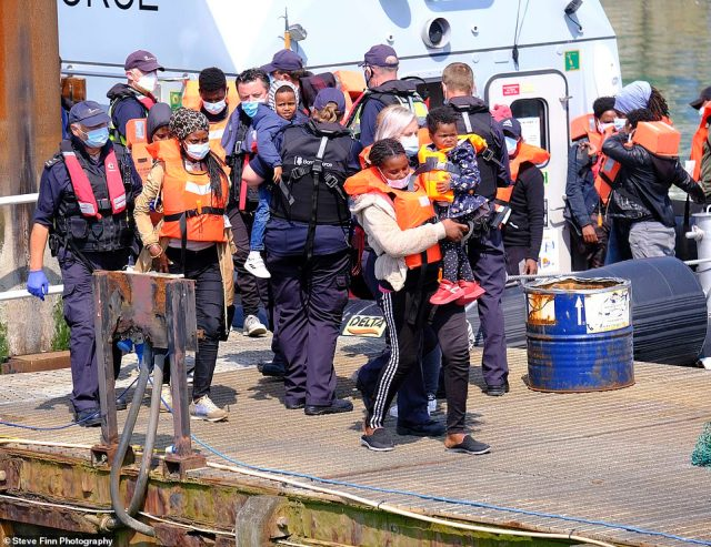 Pictured: More migrants are intercepted in the Channel by Border Force and brought to Dover in Kent