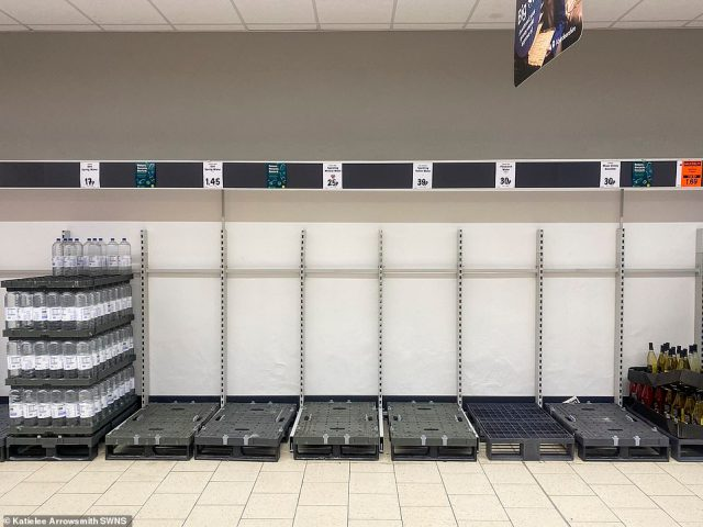 Gaps in the mineral water section at Lidl in Granton, Edinburgh. Similar scenes were seen in other stores across the country today