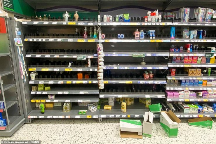 Hand sanitiser shelves almost empty at Morrisons at The Gyle, Edinburgh, in an image taken late this morning