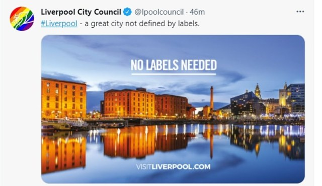 Liverpool City Council was defiant today and tweeted there was 'no labels needed' for its historic docks