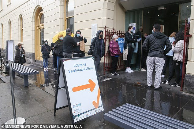 Victorians are in the midst of their fifth lockdown due to a recent outbreak of coronavirus (pictured vaccination clinic on Chapel Street in Melbourne)