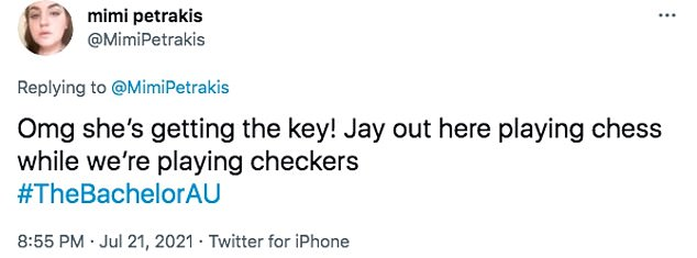 Winning hearts: Fans flocked to Twitter to praise Jay, and claimed she's the frontrunner to win his heart