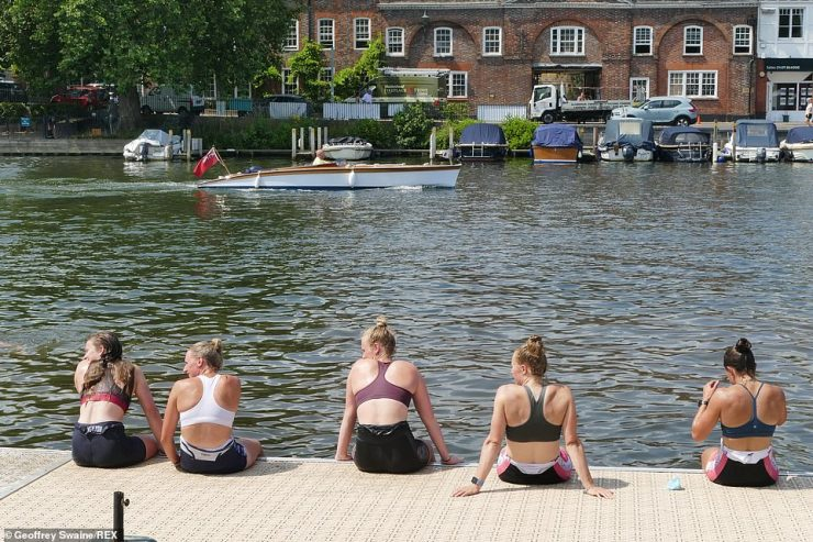 Members of the Leander Rowing Club next to the River Thames today ahead of the Royal Regatta at Henley on Thames
