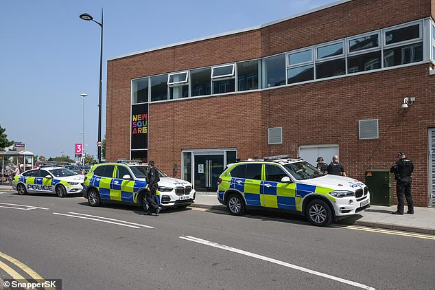 A heavy police presence quickly flooded the area after the officers were attacked