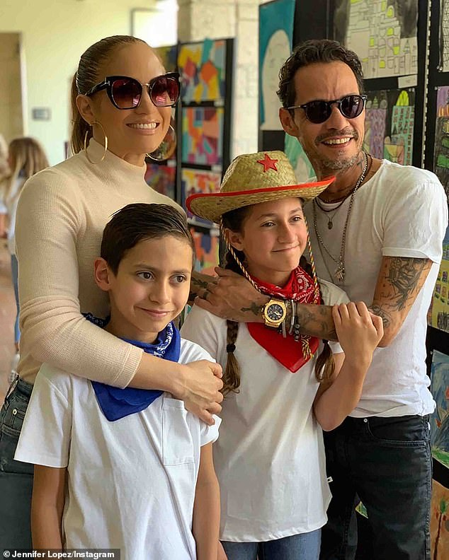 Their little 'coconuts': Jennifer and Marc share twins Max and Emme; seen in Miami