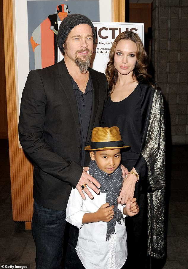 Jolie and her ex-husband Pitt are pictured with Maddox at the 2009 premiere of the movie 'Invictus'