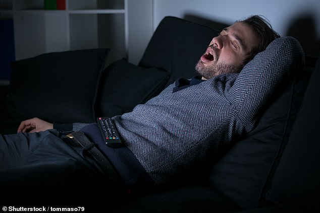 Spending more than four hours a day in front of the television increases your risk of obstructive sleep apnoea ¿ and resulting snoring (pictured) ¿ by 78 per cent, a study found