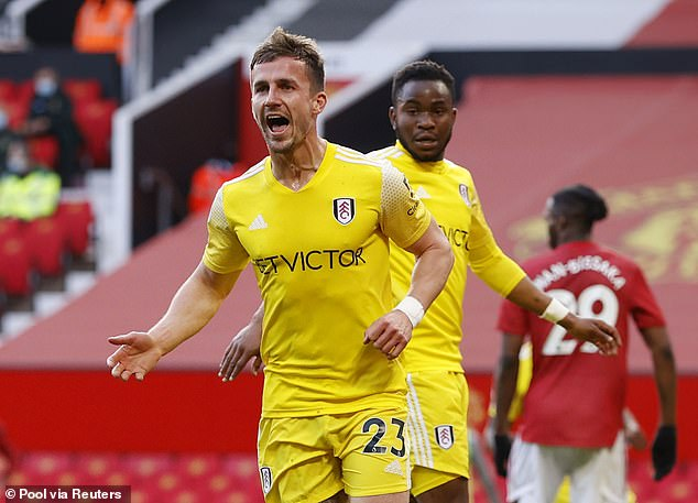 Bryan celebrates scoring Fulham's equalising goal in their draw at Old Trafford back in May