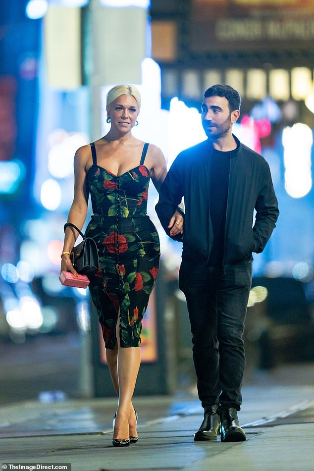 Buddies: His Lasso co-stars, Hannah Waddingham and Brett Goldstein, linked arms while leaving the popular eatery in Times Square