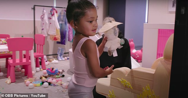 Early birds:Kylie chimes in saying she wakes up at 7am, gets ready and makes breakfast then she and her mini me head to the Kylie Cosmetics office in Woodland Hills, California