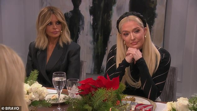 Tense: Erika sits by Lisa Rinna as she listens to what the other ladies have to say