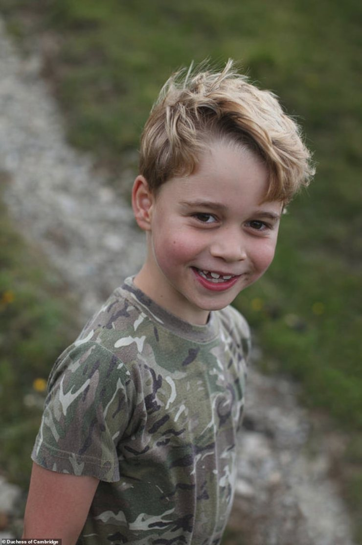 Prince George, showcased his a toothy grin and windswept blonde locks in his new birthday photographs, which were snapped by Kate Middleton,