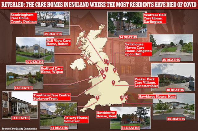 Bedford Care Home in Leigh, Greater Manchester, had the worst virus death toll in the country, with 44 victims ¿ 24 per cent of the home's capacity ¿ Care Quality Commission has revealed