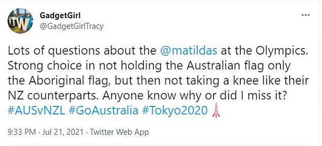 The powerful statement by the Matildas came under fire from viewers back home