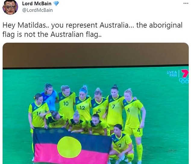 Many viewers questioned why the Matildas (pictured) didn't pose with the Australian flag